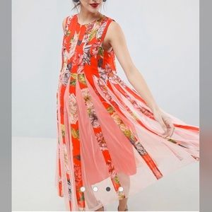 ASOS Red floral pleated maternity dress